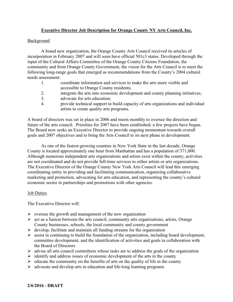 Executive Director Job Description For Orange County