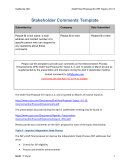 Stakeholder Comments Template - Interconnection