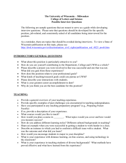 possible interview questions - University of Wisconsin–Milwaukee