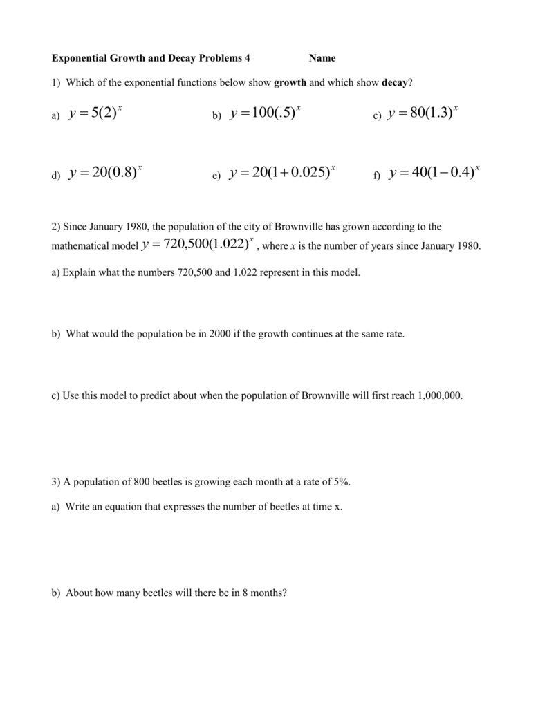 Worksheets Exponential Growth And Decay Worksheet exponential equations practice with word problems 2