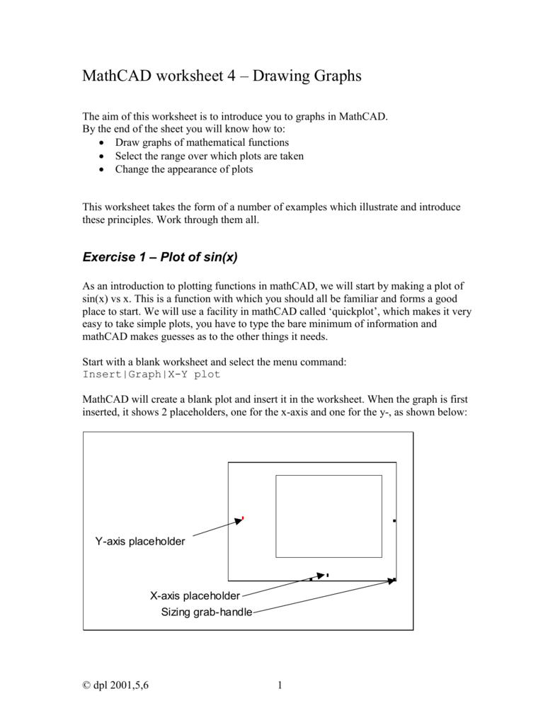 MathCAD worksheet 4 – Drawing Graphs