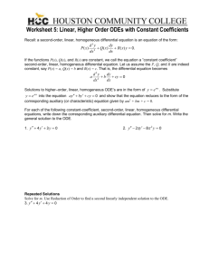 2320Worksheet 5 LHODE with Constant Coefficients