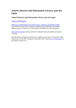 School Libraries and Information Literacy past hot topics