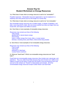 Student Worksheet on Energy Resources