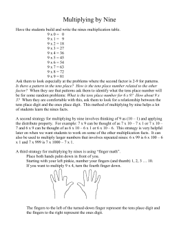 Multiplication by Nine - Kentucky Center for Mathematics