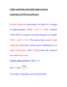 Light scattering and small angle neutron scattering (SANS) on