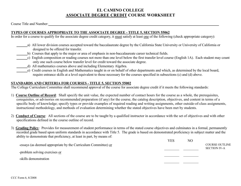 associate degree credit course worksheet