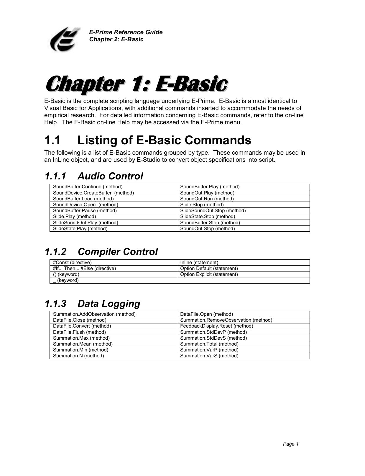 1 1 Listing of E