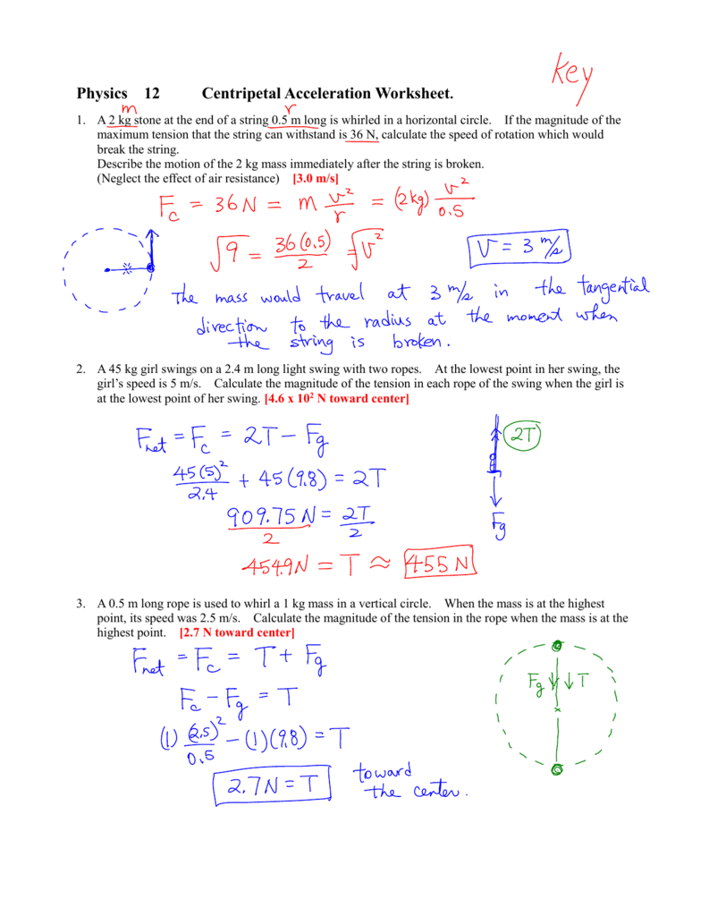 Worksheets Centripetal Force Worksheet physics 12 centripetal acceleration worksheet