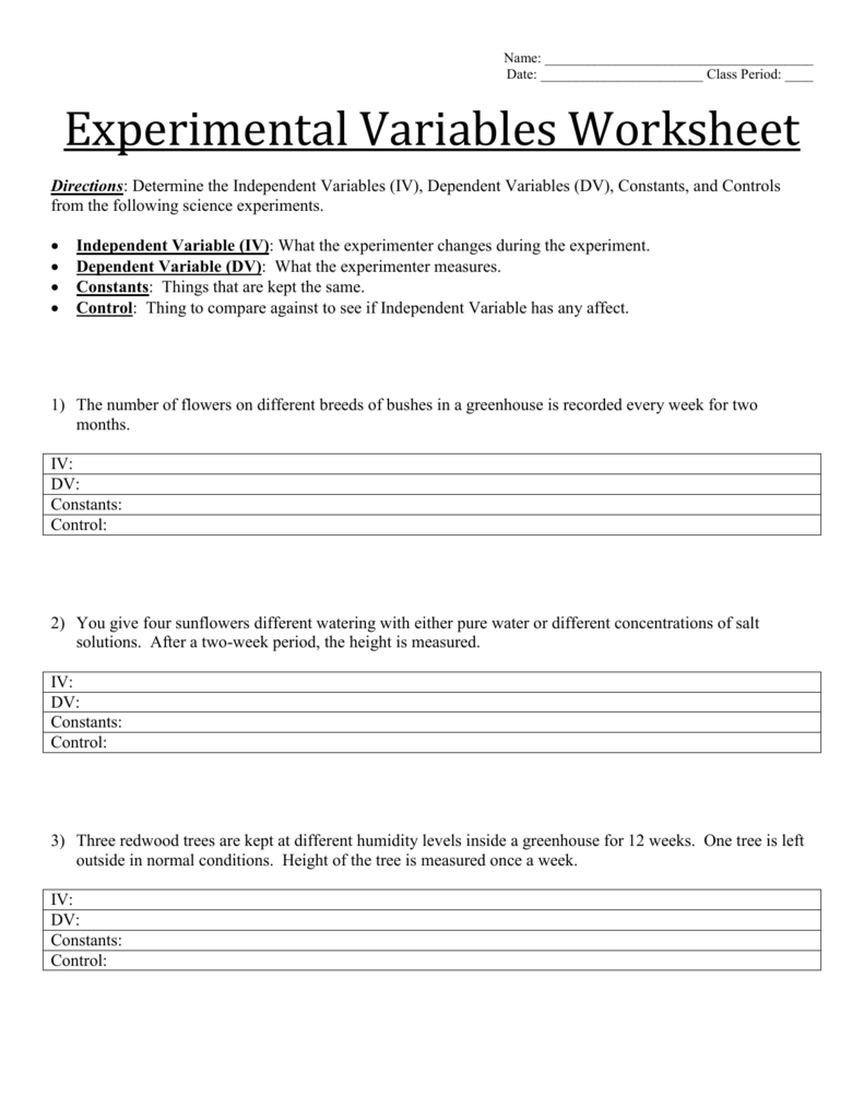 Experimental Variables Worksheet