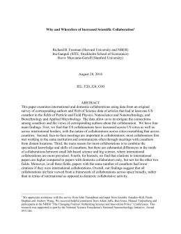 Why and Wherefore of Increased Scientific Collaboration[1] Richard