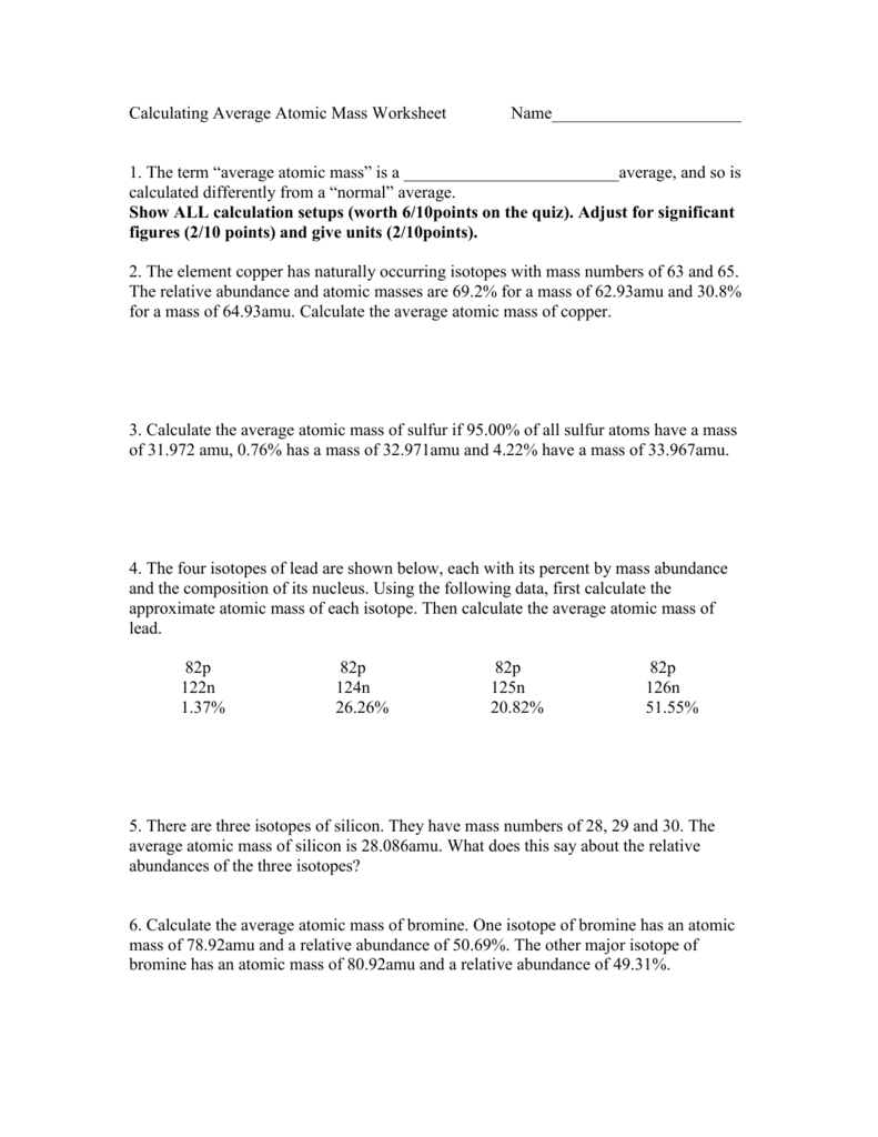 worksheet Calculations Using Significant Figures Worksheet calculating average atomic mass worksheet name