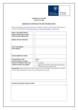Academic Visitors Application Form DOC 70kB