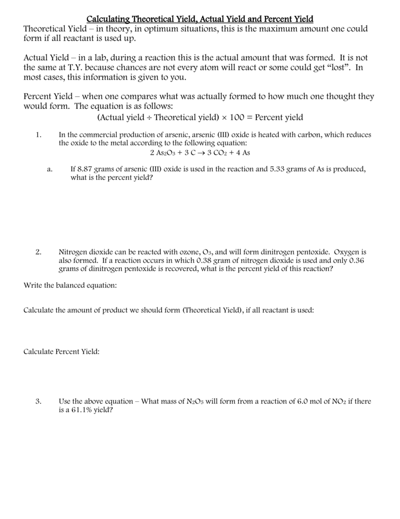 Uncategorized Percent Actual And Theoretical Yield Worksheet ask the experts determining theoretical yield try these practice problems below 1 for balanced equation shown if 93 8 grams of pcl5 were reacted with 20 3