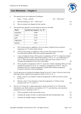 Core Worksheet – Chapter 5 - Cambridge Resources for the IB