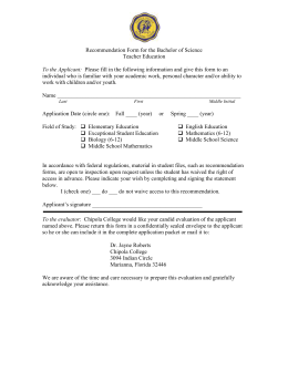 Recommendation Form for the Bachelor of Science