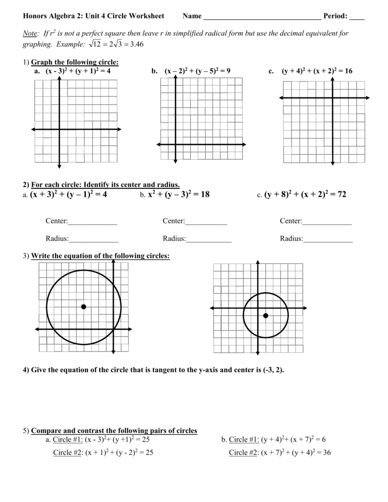 Worksheets Graphing Circles Worksheet 2
