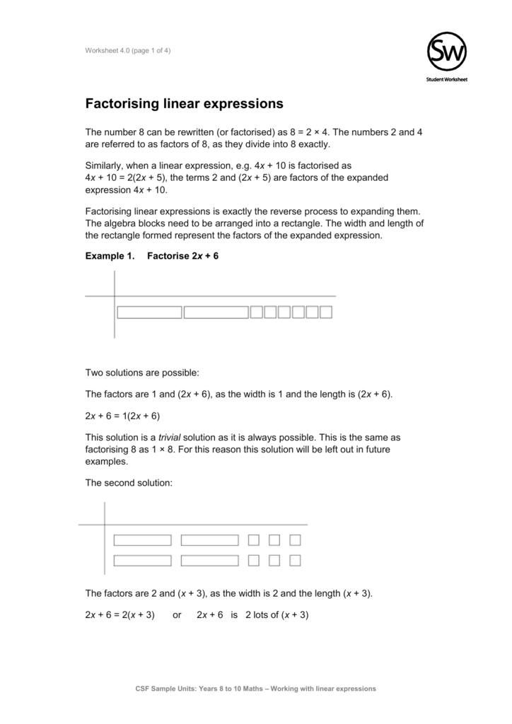 30 Factoring Linear Expressions Worksheet   Worksheet ...
