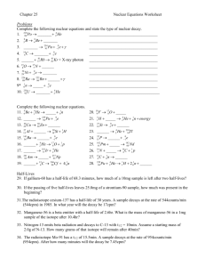 Nuclear Equations Worksheet