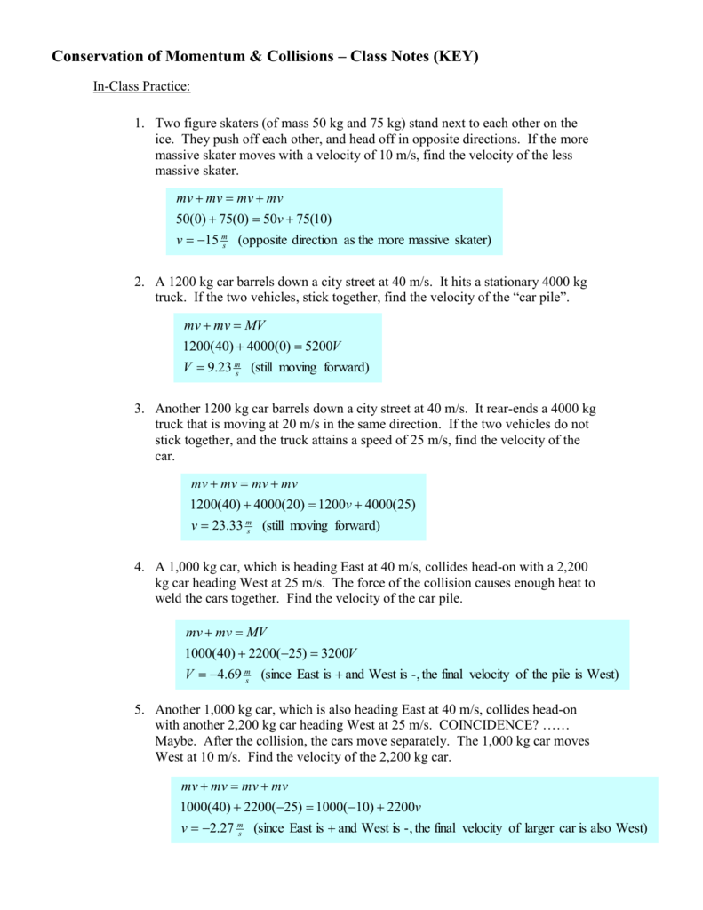 conservation of momentum collisions class notes