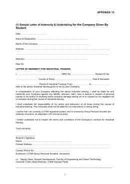 General information on utar industrial training programme sample letter of indemnity utar industrial training management spiritdancerdesigns Gallery