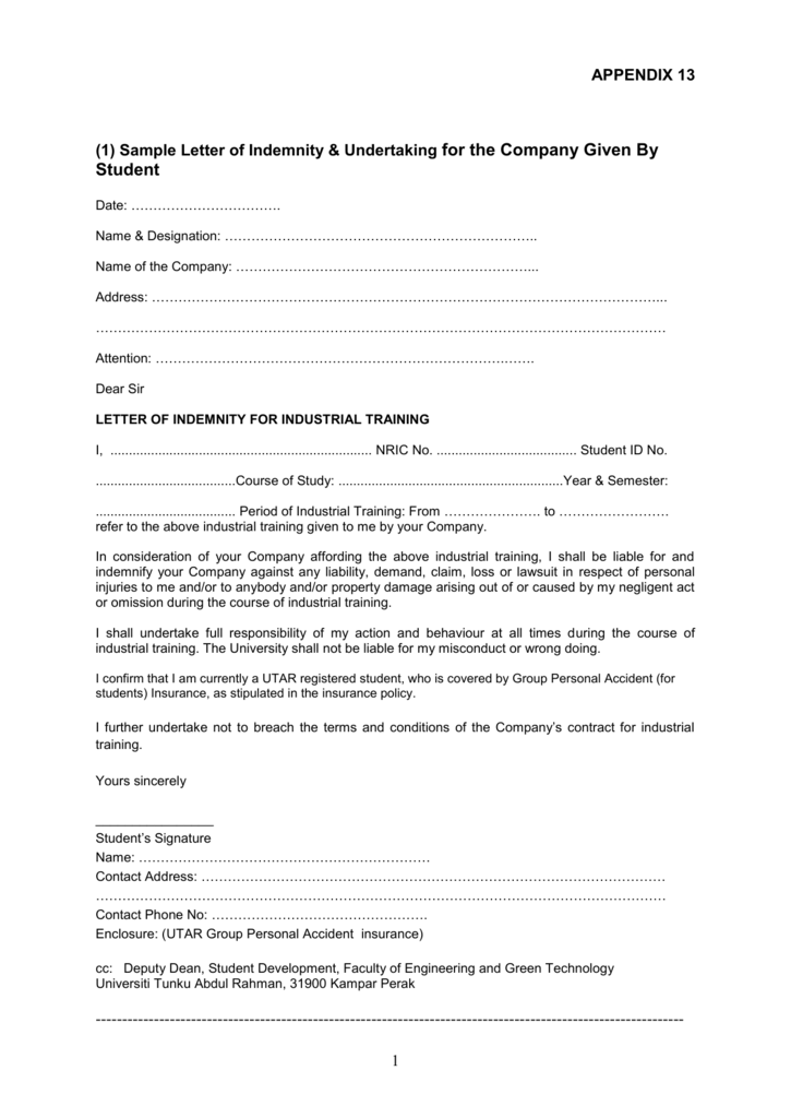 Sample letter of indemnity utar industrial training management altavistaventures Choice Image