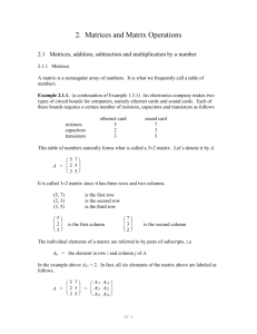 Matrices, addition, subtraction and multiplication bv a number