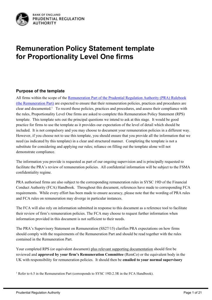 remuneration policy statement template for
