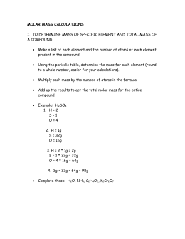 Molar Mass Calculations Notes