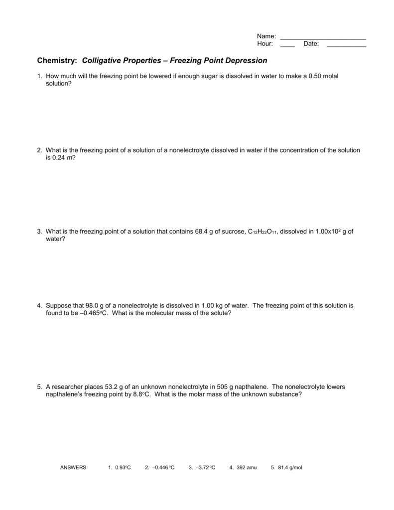 Worksheets Colligative Properties Worksheet colligative properties