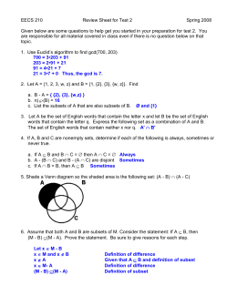 EECS 210 Review Sheet for Test 2 Fall 2007