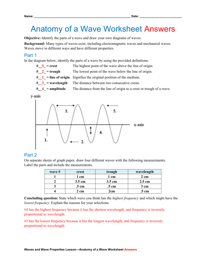 Anatomy of a Wave Worksheet Answers