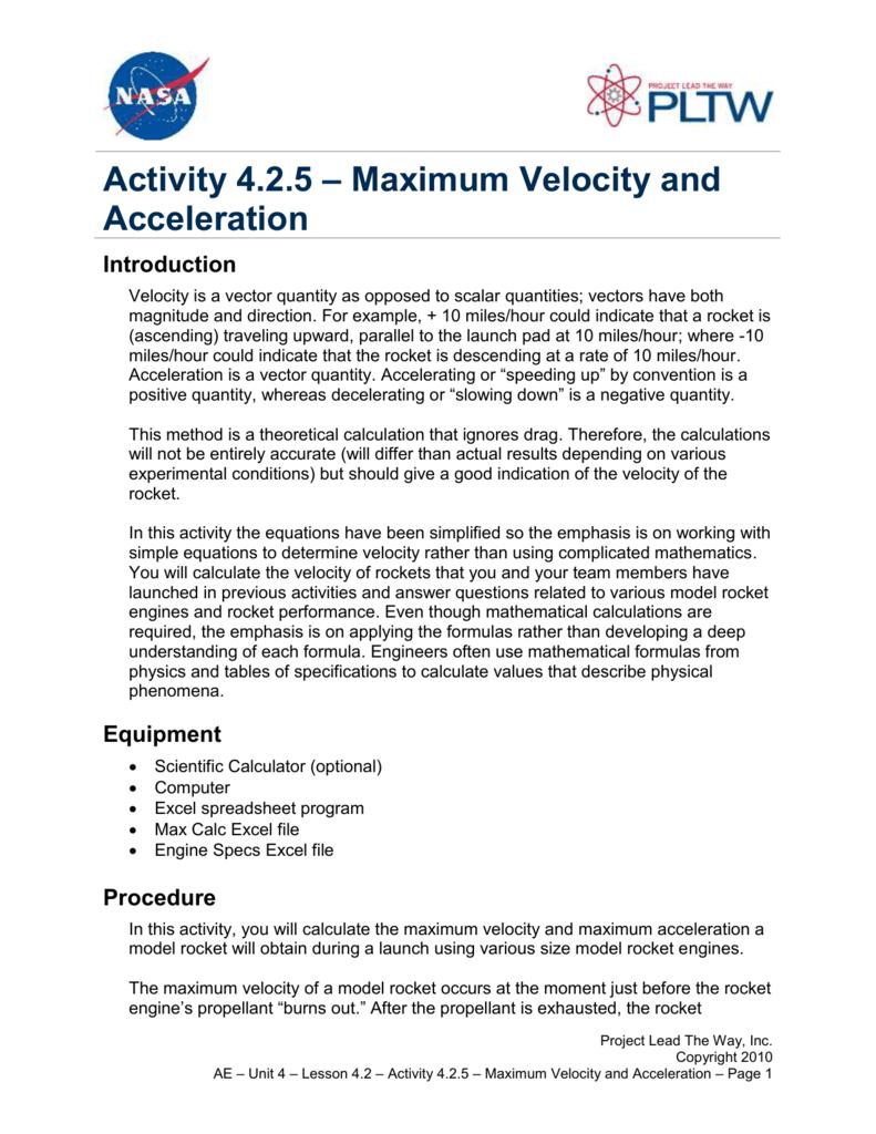 Maximum Velocity and Acceleration