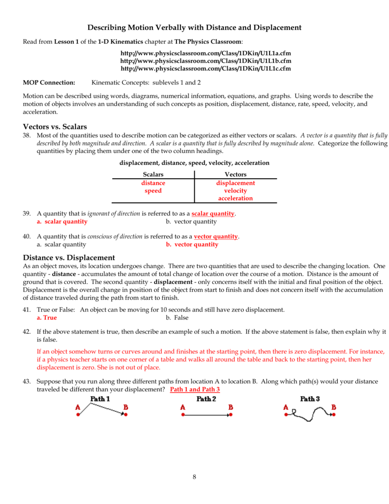 Physics Classroom Worksheets Key Unit 1 – Displacement Velocity and Acceleration Worksheet