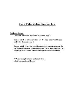 CORE VALUES IDENTIFICATION LIST