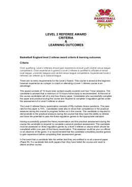 LEVEL 2 REFEREE AWARD CRITERIA & LEARNING OUTCOMES