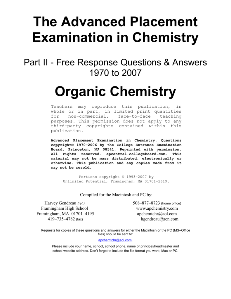 organic chemistry questions and answers