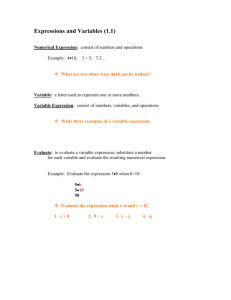 Expressions and Variables (1