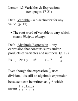 Lesson ____: Variables & Expressions