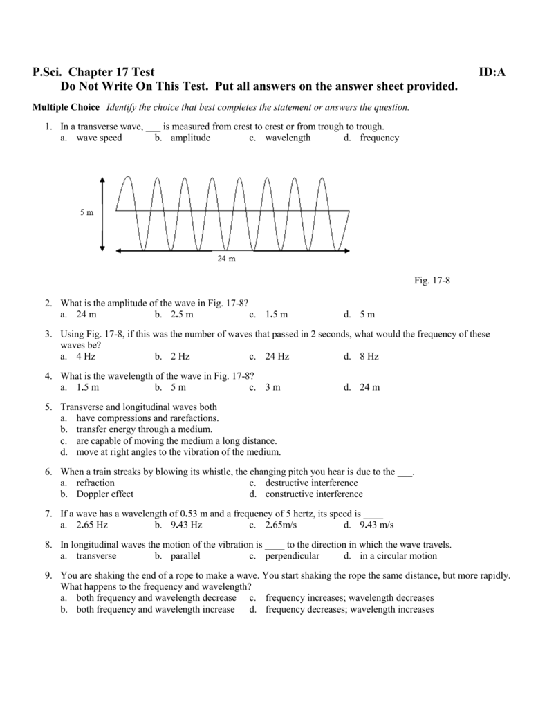Worksheets Wave Speed Worksheet wave fig