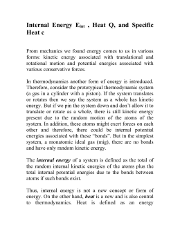 Internal Energy, Heat, and Specific Heat
