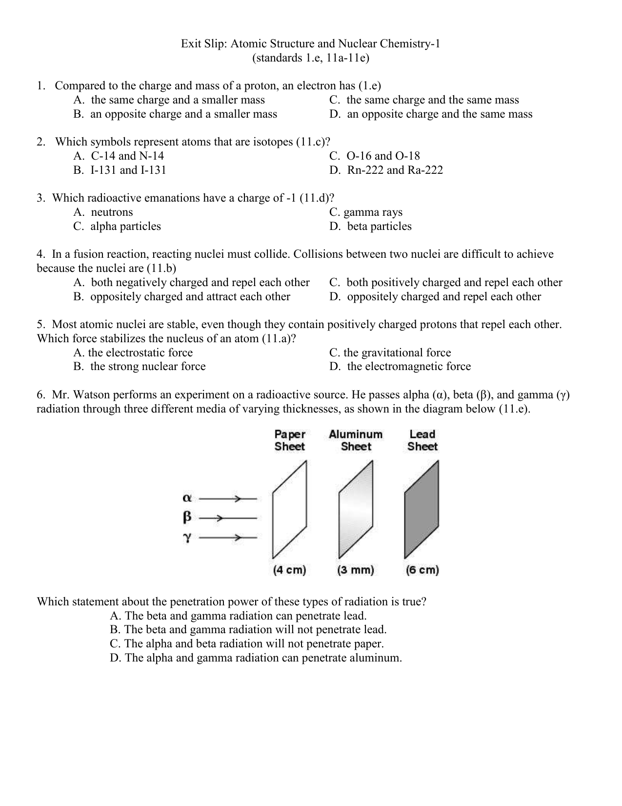 Exit slip atomic structure and nuclear chemistry 1 biocorpaavc Choice Image
