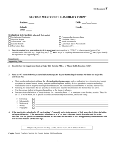 SECTION 504/ADA STUDENT ELIGIBILITY FORM