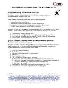 Student Eligibility for Section 8 Programs