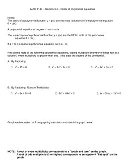 3.4 Solving Polynomial Equations