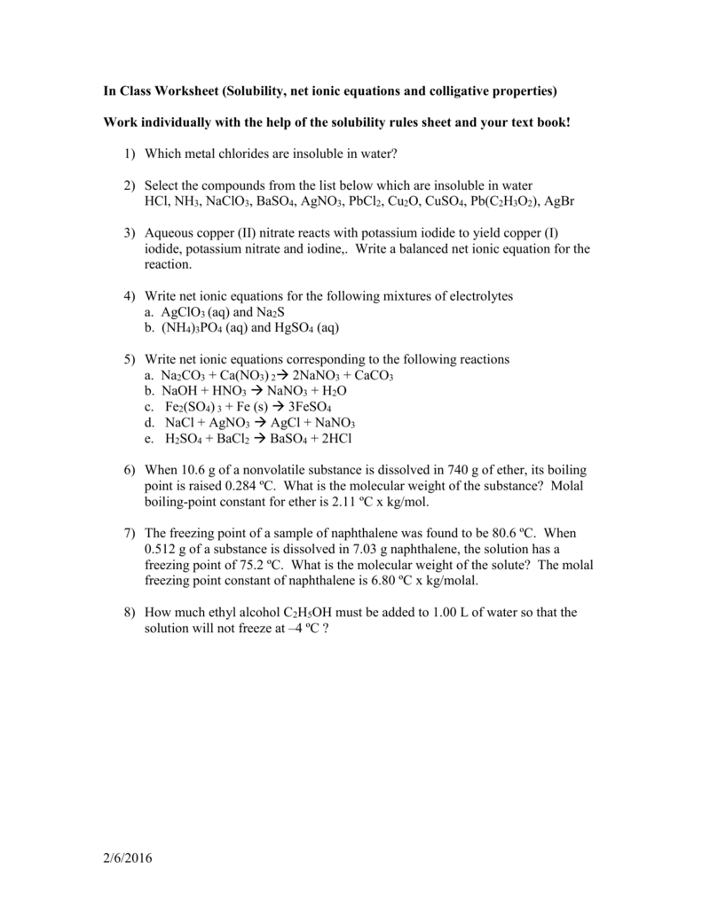 Worksheets Net Ionic Equations Worksheet in class worksheet solubility net ionic equations mvhs