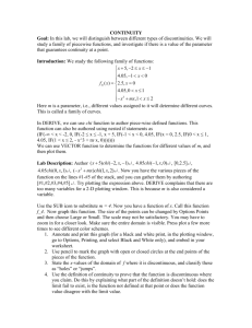 CONTINUITY AND INTERMEDIATE VALUE THEOREM