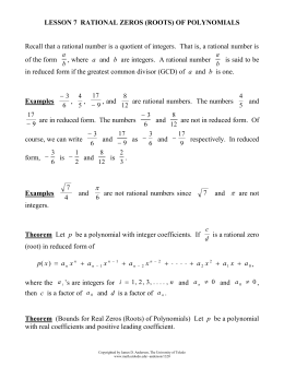 Lesson 7 Rational Zeros (Roots)