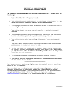 Experimental Subject`s Bill of Rights - Office of Research