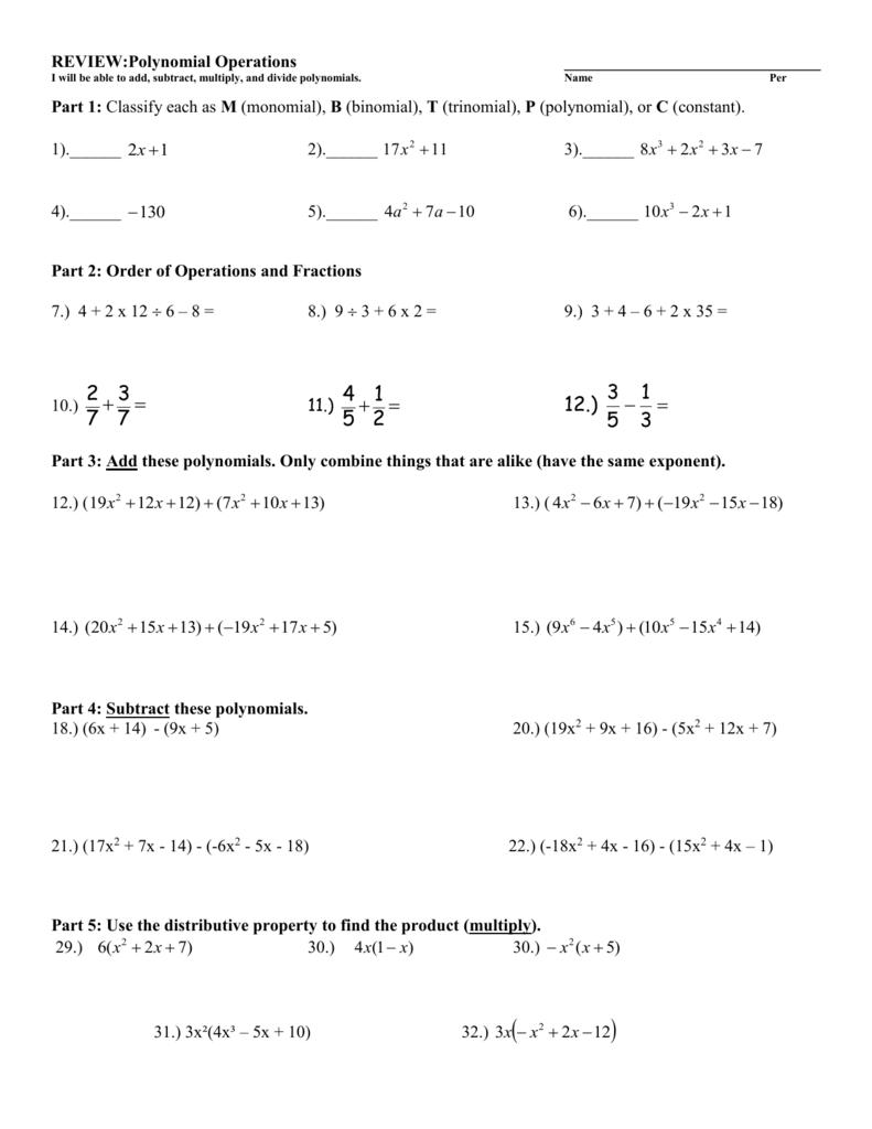 Polynomials Worksheet #1